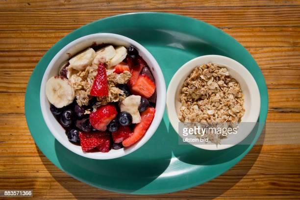 Acai bowl with banana and strawberries