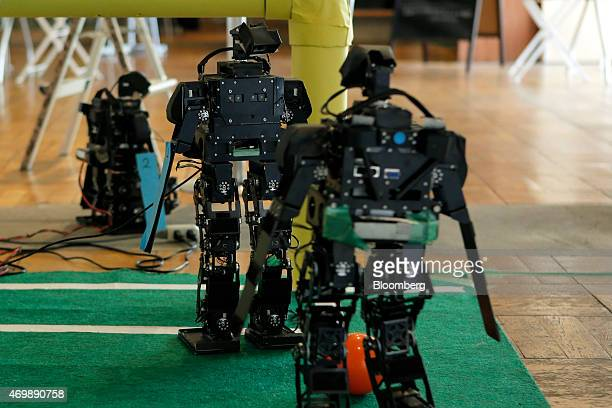 'Accelite' humanoid robots designed and developed by the Department of Advanced Robotics at Chiba Institute of Technology perform during a...