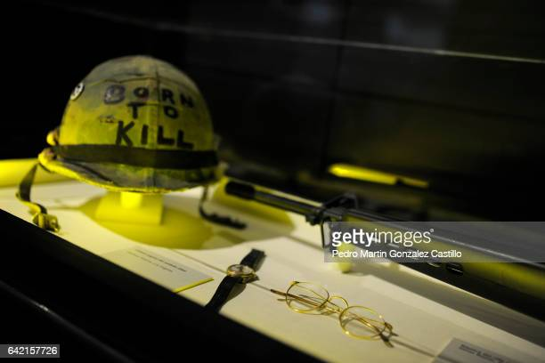 Accesories used in the Stanley Kubrick's movie Full Metal Jacket is exhibited as part of the Stanley Kubrick 'La Exposicion' at Cineteca Nacional on...