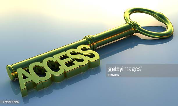 Access key concept with green key on blue background
