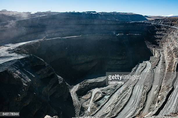 Access roads for heavy mining equipment lead to the base of the main pit of the Letseng diamond mine operated by Gem Diamonds Ltd in Letseng Lesotho...