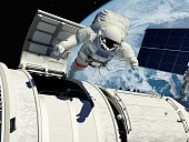 """Astronaut goes through the hatch into space.""""Elemen ts of this image furnished by NASA"""".3d render"""