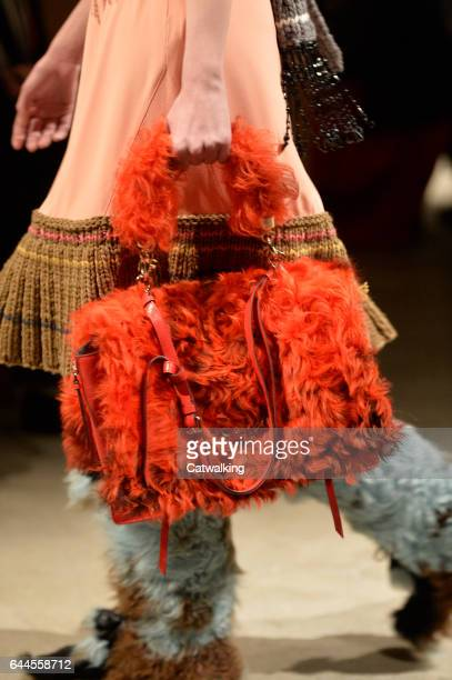 Accessoreis bag details on the runway at the Prada Autumn Winter 2017 fashion show during Milan Fashion Week on February 23 2017 in Milan Italy