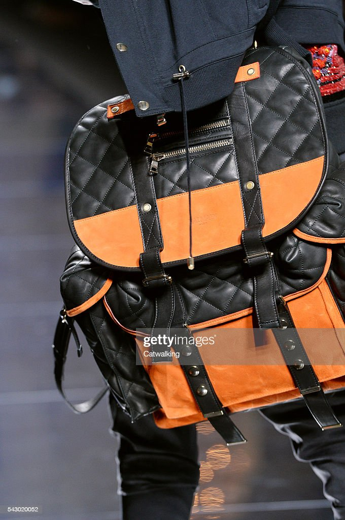 Accessories a bag detail on the runway at the Balmain Homme Spring Summer 2017 fashion show during Paris Menswear Fashion Week on June 25, 2016 in Paris, France.