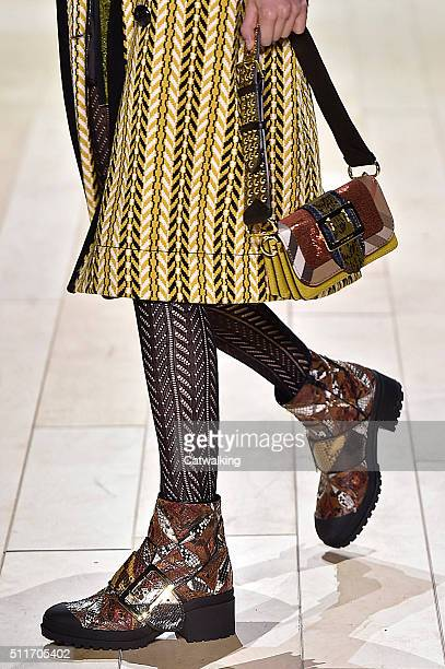 Accessories a bag detail on the runway at the Burberry Prorsum Autumn Winter 2016 fashion show during London Fashion Week on February 22 2016 in...