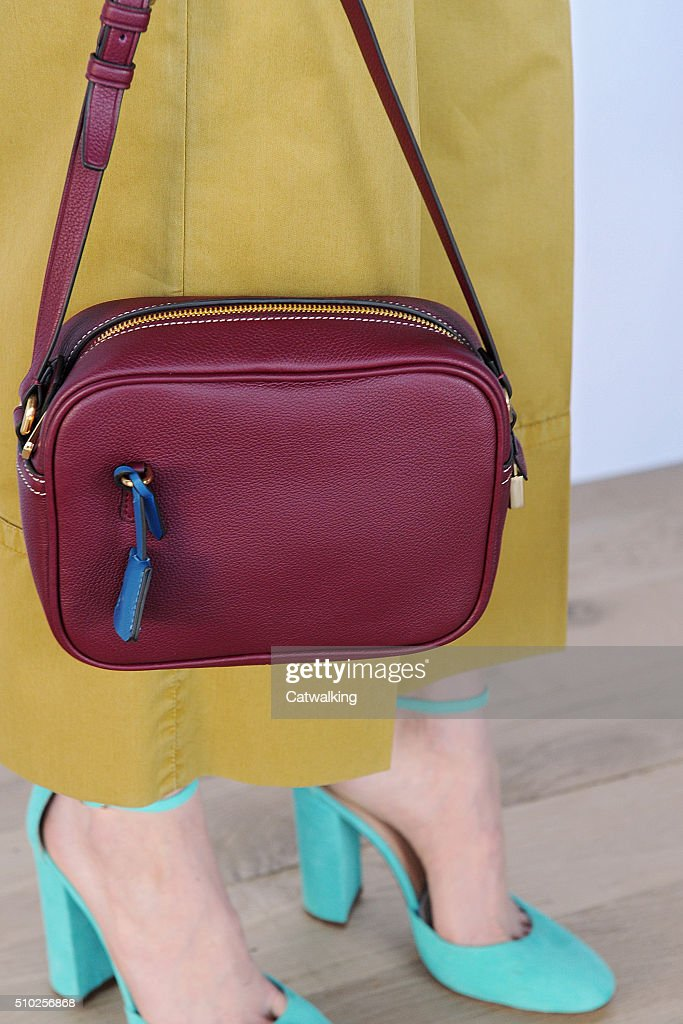 Accessories a bag detail on the runway at the J.Crew Autumn Winter 2016 fashion show during New York Fashion Week on February 14, 2016 in New York, United States.