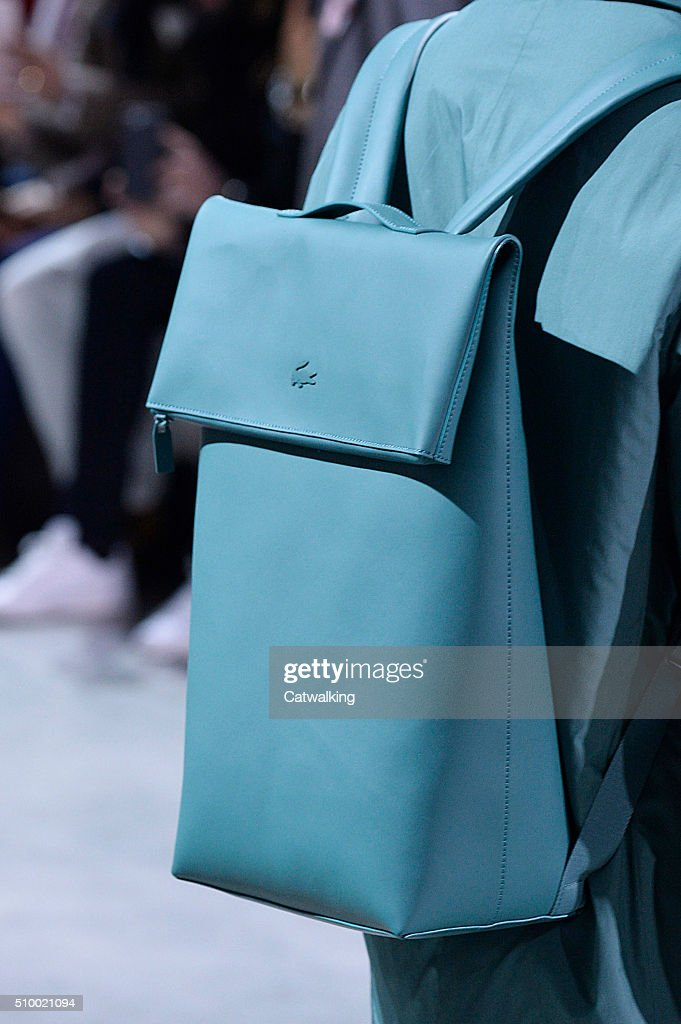 Accessories a bag detail on the runway at the Lacoste Autumn Winter 2016 fashion show during New York Fashion Week on February 13, 2016 in New York, United States.