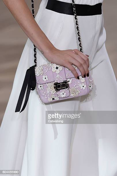 Accessories a bag detail on the runway at the Monique Lhuillier Spring Summer 2017 fashion show during New York Fashion Week on September 13 2016 in...