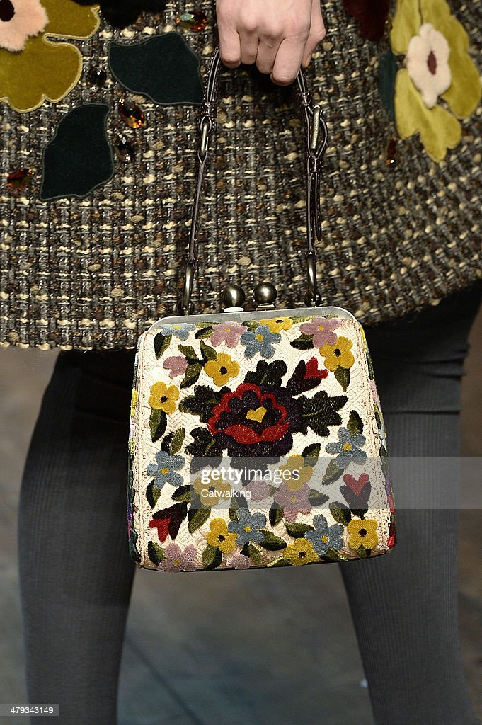 Accessories, a handbag detail on the runway at the Dolce & Gabbana Autumn Winter 2014 fashion show during Milan Fashion Week on February 23, 2014 in Milan, Italy.