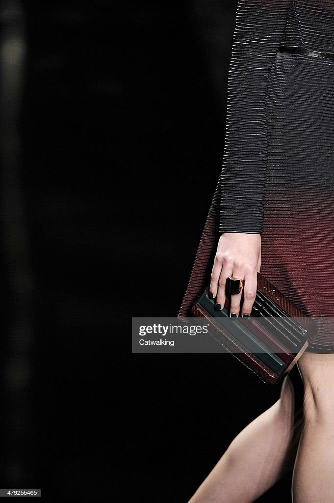 Accessories a handbag detail on the runway at the Elie Saab Autumn Winter 2014 fashion show during Paris Fashion Week on March 3 2014 in Paris France
