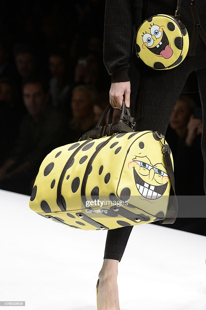 Accessories a handbag detail on the runway at the Moschino Autumn Winter 2014 fashion show during Milan Fashion Week on February 20 2014 in Milan...