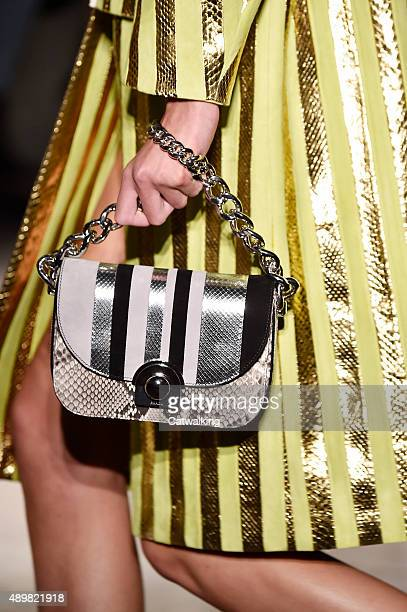 Accessories a handbag detail on the runway at the Prada Spring Summer 2016 fashion show during Milan Fashion Week on September 24 2015 in Milan Italy