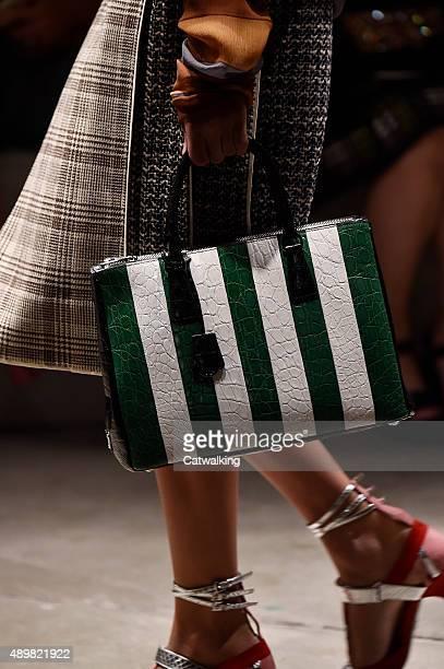 Accessories a handbag detail on the runway at the Prada Spring Summer 2016 fashion show during Milan Fashion Week on September 24 2015 in Milan Italy