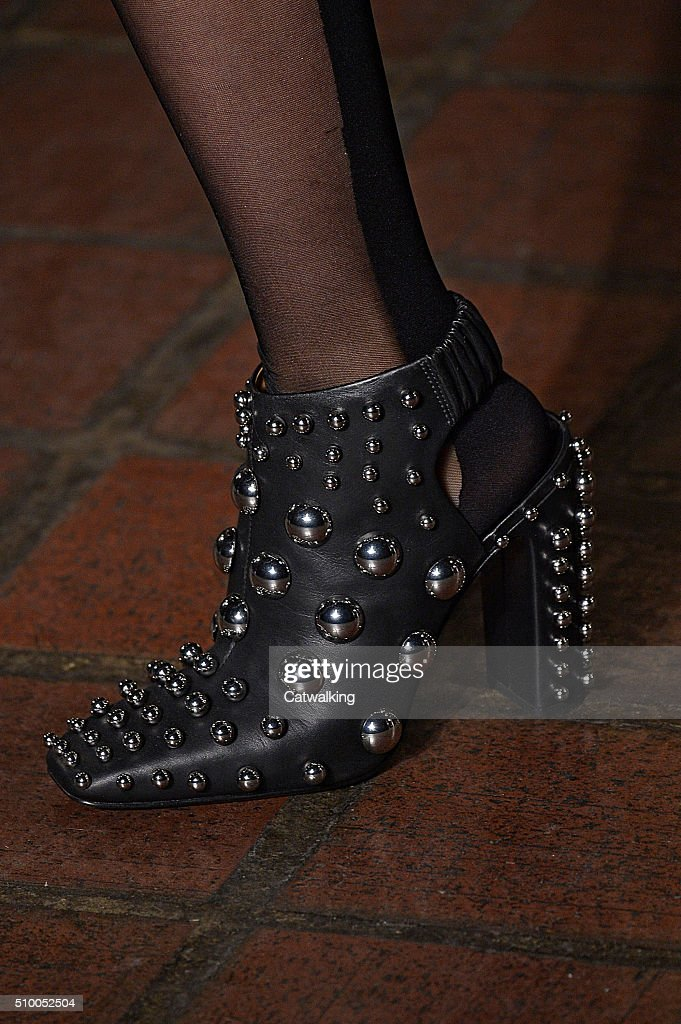 Accessories a shoe detail on the runway at the Alexander Wang Autumn Winter 2016 fashion show during New York Fashion Week on February 13, 2016 in New York, United States.