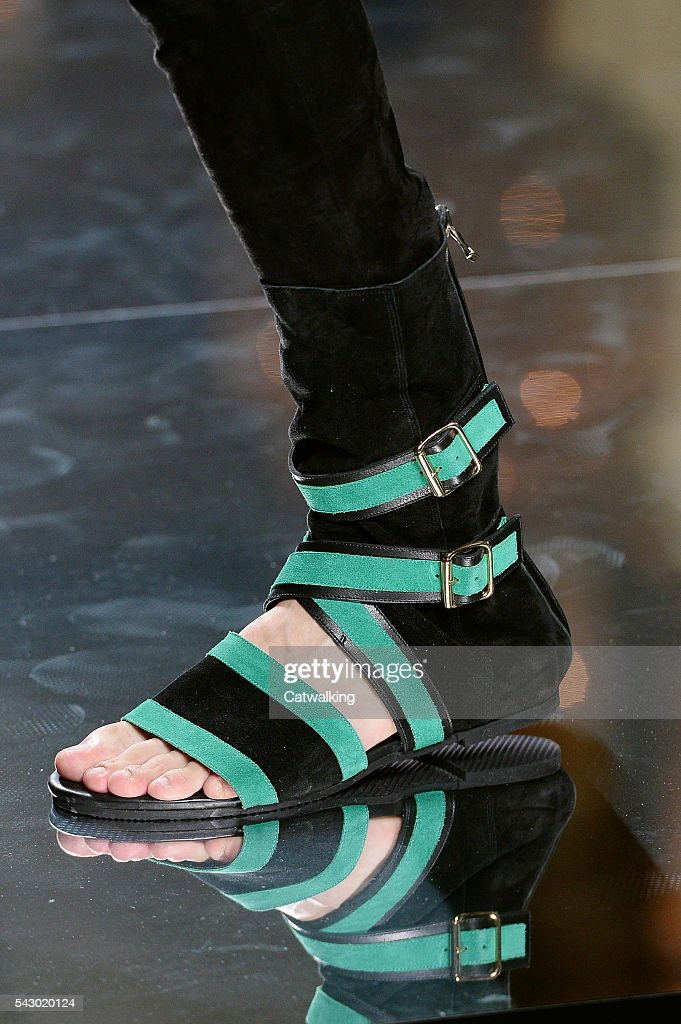 Accessories a shoe detail on the runway at the Balmain Homme Spring Summer 2017 fashion show during Paris Menswear Fashion Week on June 25, 2016 in Paris, France.