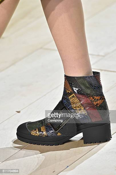 Accessories a shoe detail on the runway at the Burberry Prorsum Autumn Winter 2016 fashion show during London Fashion Week on February 22 2016 in...