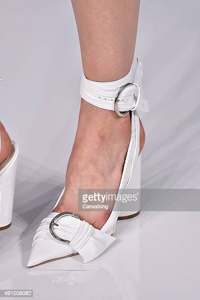 Accessories a shoe detail on the runway at the Christian Dior Spring Summer 2016 fashion show during Paris Fashion Week on October 2 2015 in Paris...