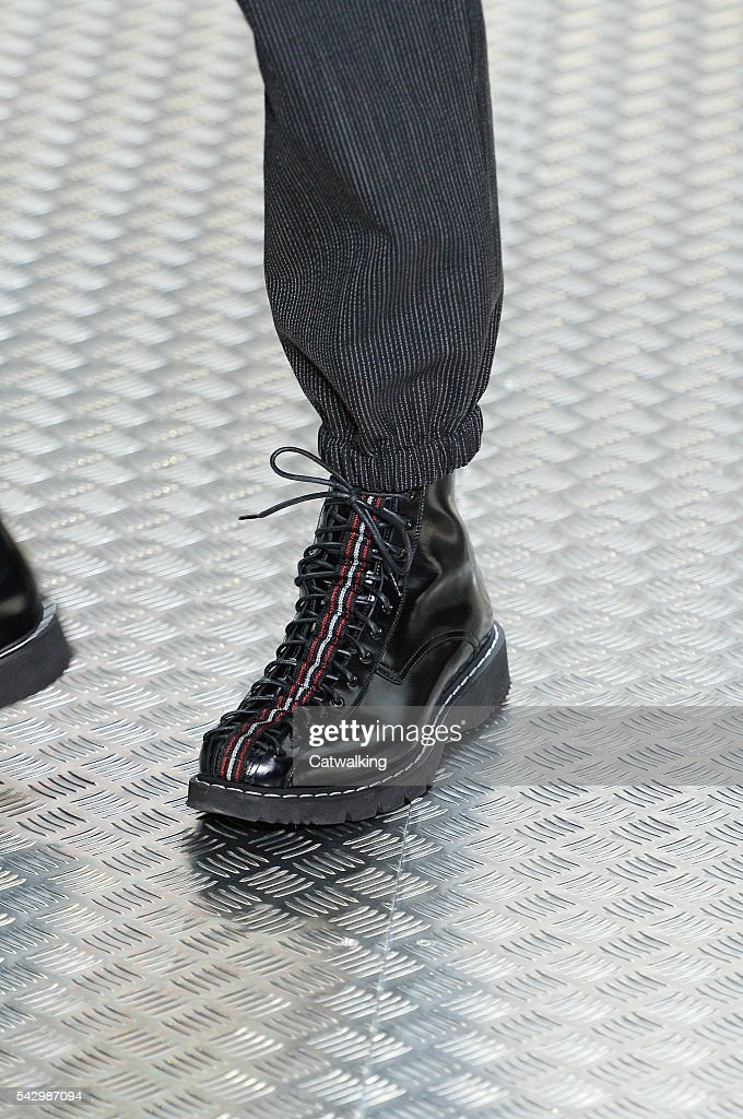 Accessories a shoe detail on the runway at the Dior Homme Spring Summer 2017 fashion show during Paris Menswear Fashion Week on June 25, 2016 in Paris, France.