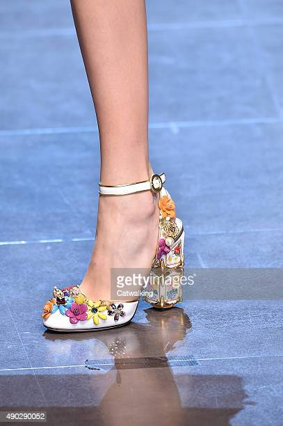 Accessories a shoe detail on the runway at the Dolce Gabbana Spring Summer 2016 fashion show during Milan Fashion Week on September 27 2015 in Milan...