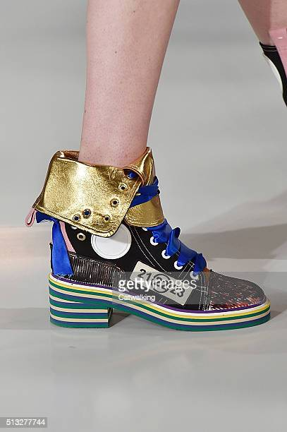 Accessories a shoe detail on the runway at the Margiela Winter 2016 fashion show during Paris Fashion Week on March 2 2016 in Paris France