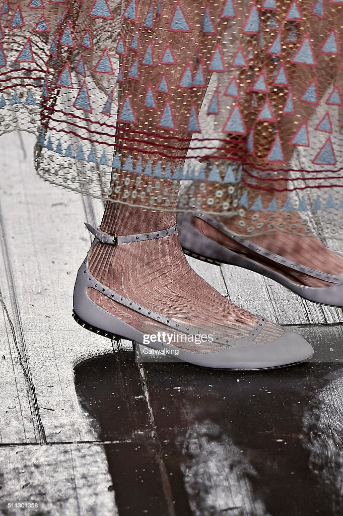 Accessories a shoe detail on the runway at the Valentino Autumn Winter 2016 fashion show during Paris Fashion Week on March 8 2016 in Paris France