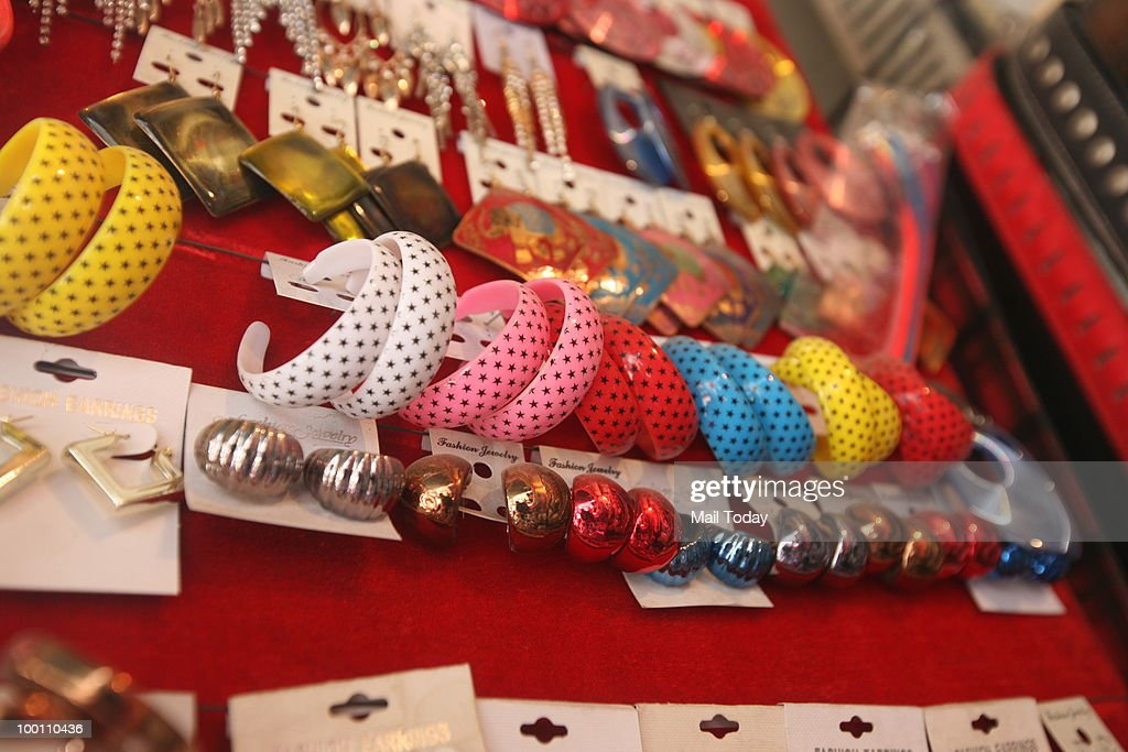 Accessories are displayed at a shop in the M-Block market,GK-I in New Delhi on May 19, 2010.