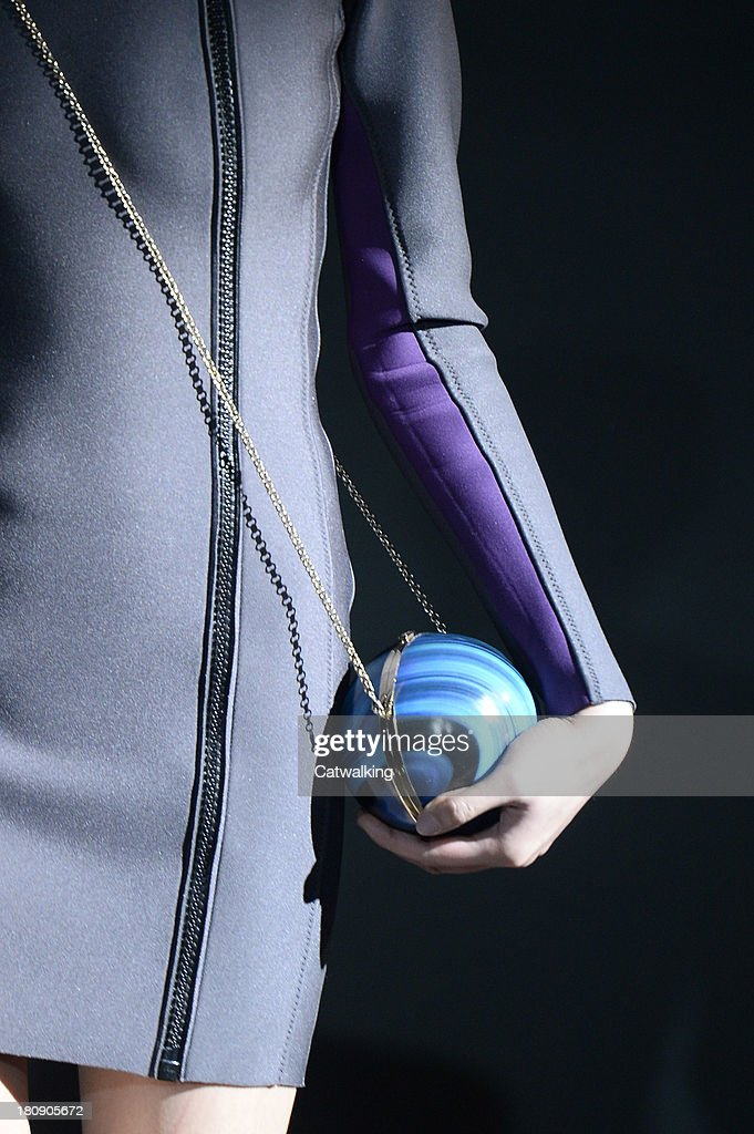 Accessories bag deetail on the runway at the Anya Hindmarch Spring Summer 2014 fashion show during London Fashion Week on September 17 2013 in London...