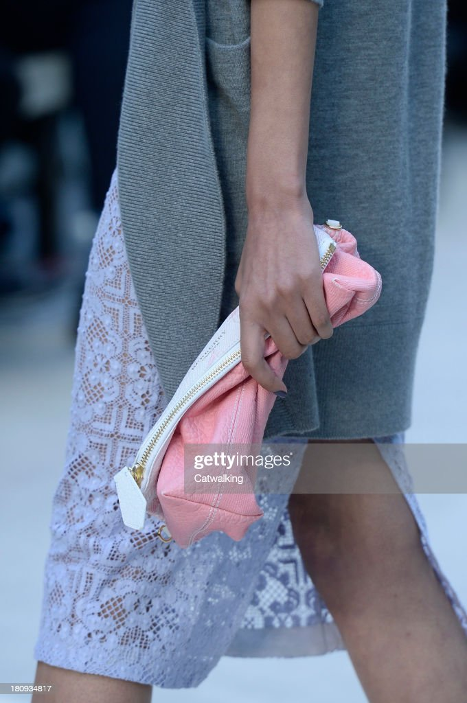 Accessories bag detail on runway at the Burberry Prorsum Spring Summer 2014 fashion show during London Fashion Week on September 16, 2013 in London, United Kingdom.