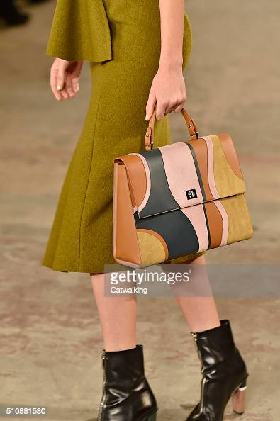Accessories bag detail on the runway at the Boss Women Autumn Winter 2016 fashion show during New York Fashion Week on February 17 2016 in New York...