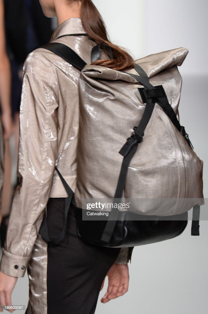 Accessories bag detail on the runway at the Christopher Raeburn Spring Summer 2014 fashion show during London Fashion Week on September 13, 2013 in London, United Kingdom.