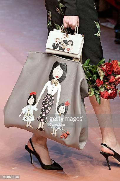 Accessories bag detail on the runway at the Dolce Gabbana Autumn Winter 2015 fashion show during Milan Fashion Week on March 1 2015 in Milan Italy
