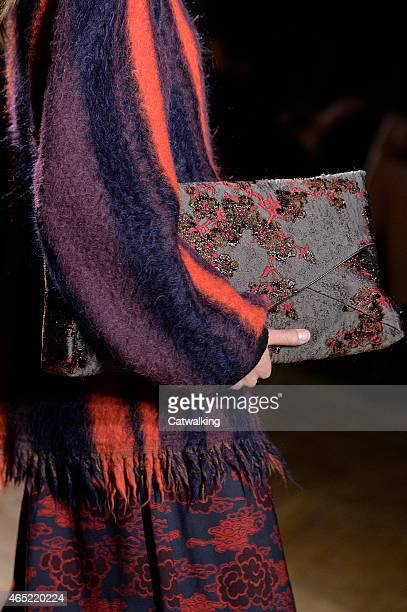 Accessories bag detail on the runway at the Dries Van Noten Autumn Winter 2015 fashion show during Paris Fashion Week on March 4 2015 in Paris France