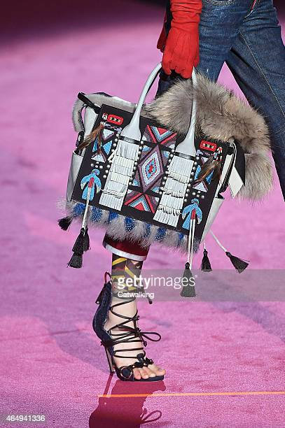 Accessories bag detail on the runway at the DSquared2 Autumn Winter 2015 fashion show during Milan Fashion Week on March 2 2015 in Milan Italy