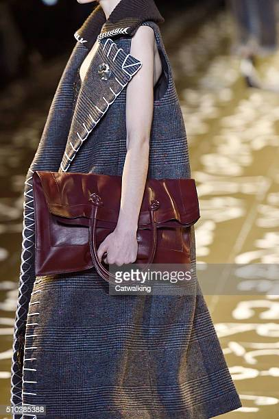 Accessories bag detail on the runway at the Edun Autumn Winter 2016 fashion show during New York Fashion Week on February 14 2016 in New York United...