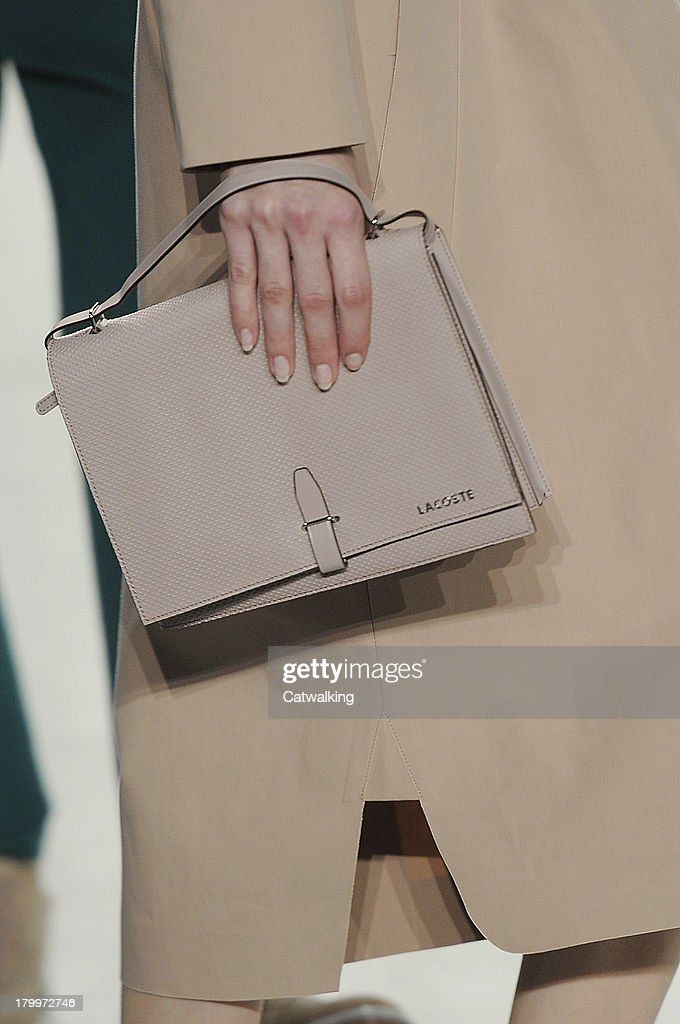 Accessories bag detail on the runway at the Lacoste Spring Summer 2014 fashion show during New York Fashion Week on September 7, 2013 in New York, United States.