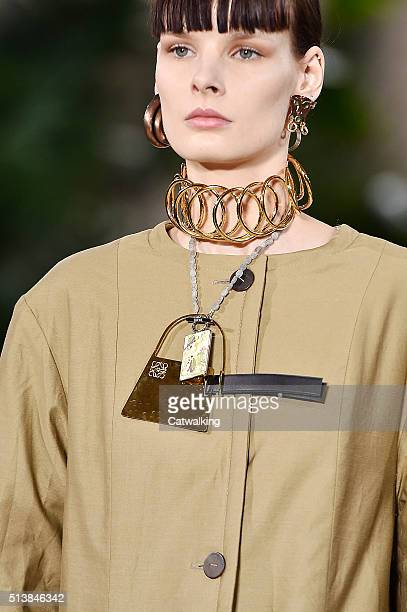 Accessories bag detail on the runway at the Loewe Autumn Winter 2016 fashion show during Paris Fashion Week on March 4 2016 in Paris France