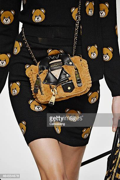 Accessories bag detail on the runway at the Moschino Autumn Winter 2015 fashion show during Milan Fashion Week on February 26 2015 in Milan Italy