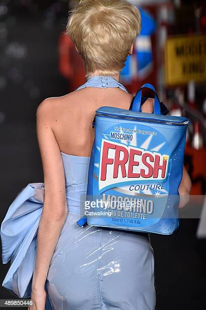 Accessories bag detail on the runway at the Moschino Spring Summer 2016 fashion show during Milan Fashion Week on September 24 2015 in Milan Italy