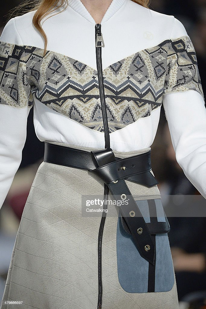 Accessories belt detail on the runway at the Louis Vuitton Autumn Winter 2014 fashion show during Paris Fashion Week on March 5, 2014 in Paris, France.