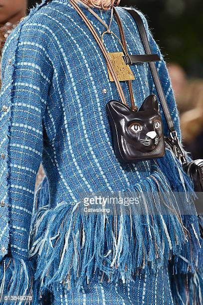 Accessories cat motif bag detail on the runway at the Loewe Autumn Winter 2016 fashion show during Paris Fashion Week on March 4 2016 in Paris France