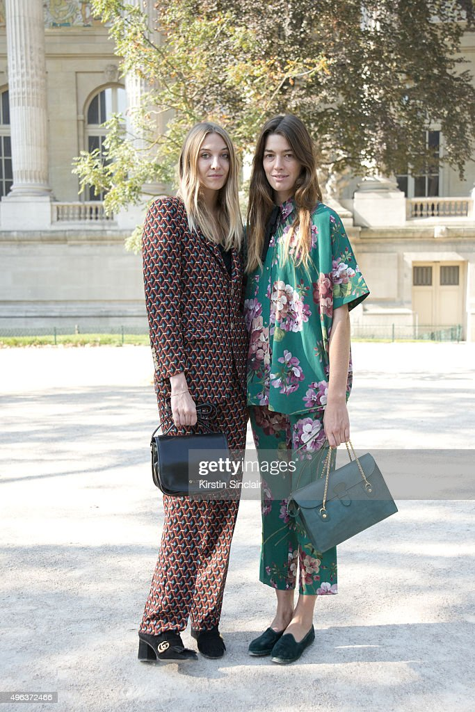 Accessories Designer Luisa Orsini wears all Gucci with a TL180 bag with Accessories Designer Antonine Peduzzi who wears all Gucci with a TL180 on day...