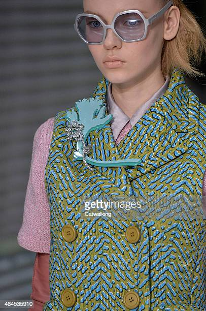 Accessories detail on the runway at the Prada Autumn Winter 2015 fashion show during Milan Fashion Week on February 26 2015 in Milan Italy