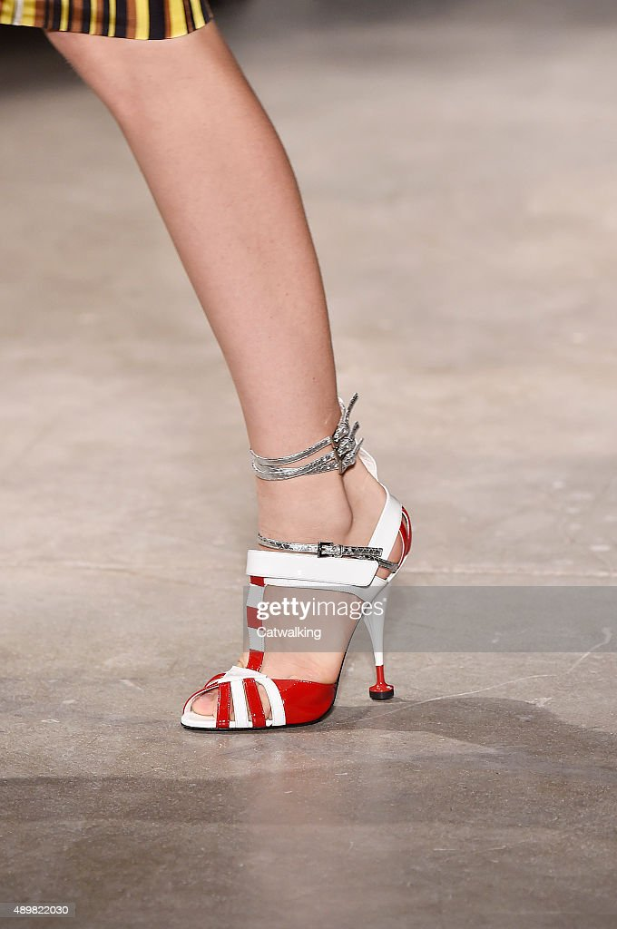 Accessories footwear detail on the runway at the Prada Spring Summer 2016 fashion show during Milan Fashion Week on September 24 2015 in Milan Italy