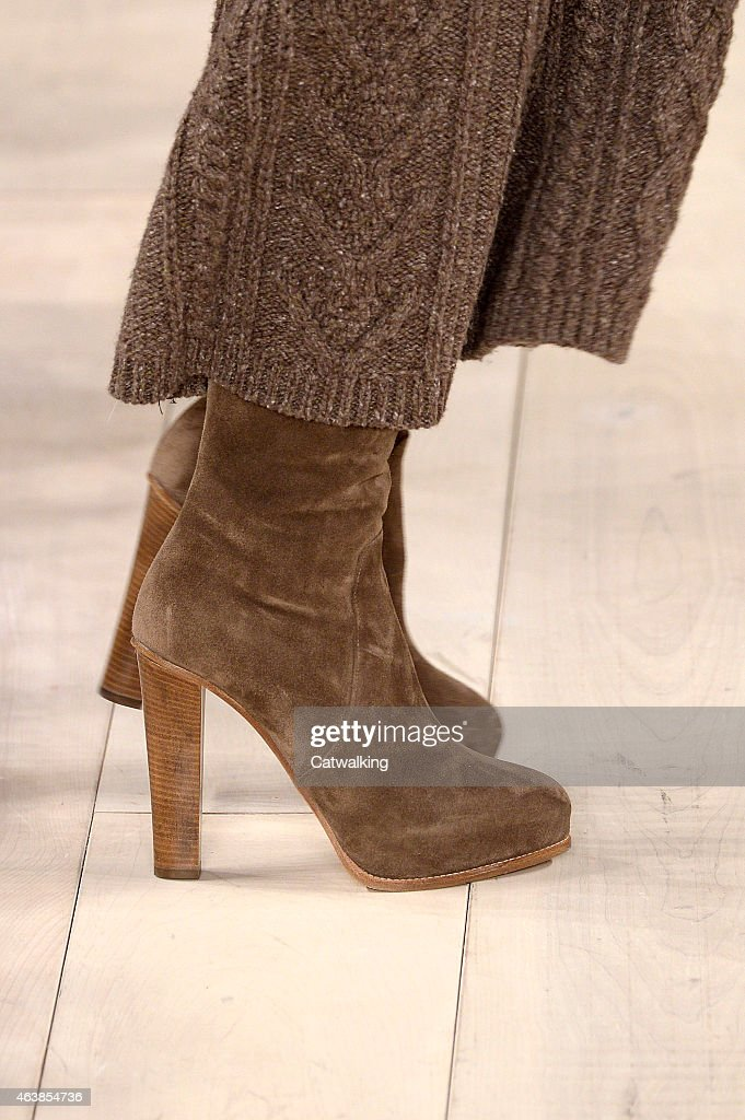 Accessories footwear detail on the runway at the Ralph Lauren Autumn Winter 2015 fashion show during New York Fashion Week on February 19 2015 in New...