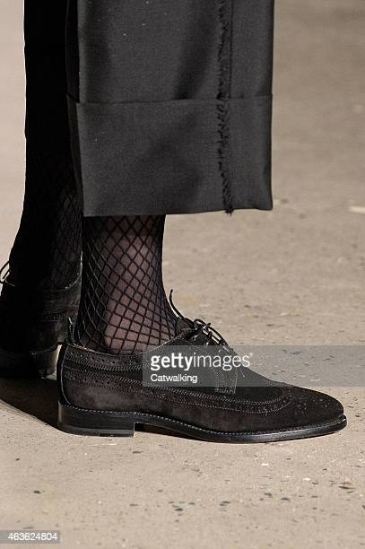 Accessories footwear detail on the runway at the Thom Browne Autumn Winter 2015 fashion show during New York Fashion Week on February 16 2015 in New...