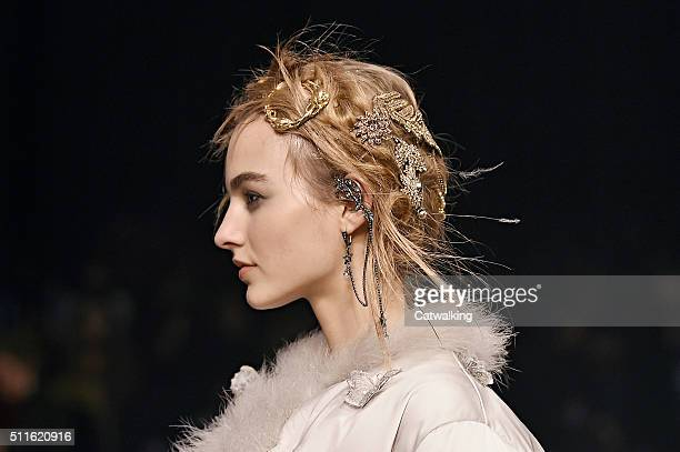 Accessories hair jewellery detail the runway at the Alexander McQueen Autumn Winter 2016 fashion show during London Fashion Week on February 21 2016...
