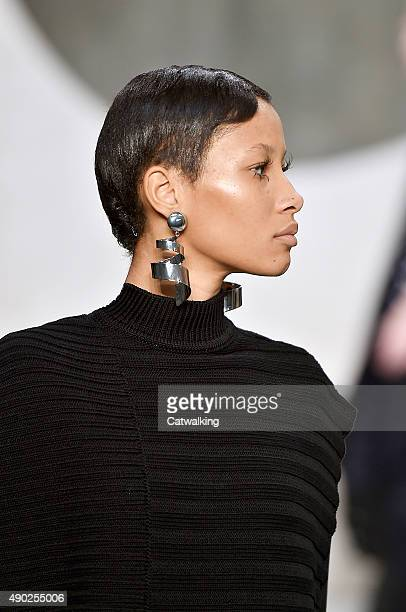 Accessories jewellery detail on the runway at the Marni Spring Summer 2016 fashion show during Milan Fashion Week on September 27 2015 in Milan Italy
