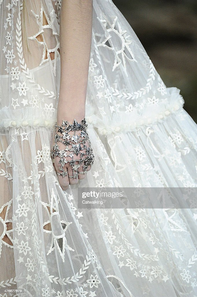 Accessories jewellery detial on the runway at the Alexander McQueen Autumn Winter 2014 fashion show during Paris Fashion Week on March 4, 2014 in Paris, France.