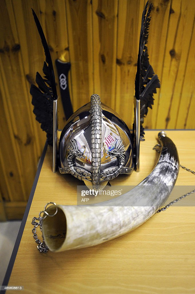Accessories of participants dressing up as Vikings are pictures before they take part in the annual Up Helly Aa festival in Lerwick Shetland Islands...