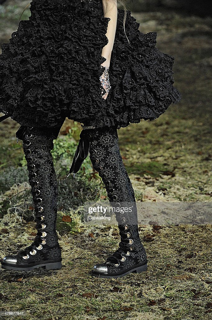 Accessories shoe detail on the runway at the Alexander McQueen Autumn Winter 2014 fashion show during Paris Fashion Week on March 4, 2014 in Paris, France.